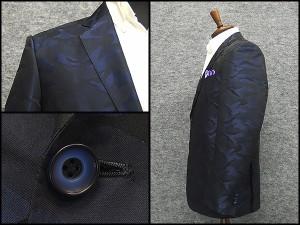 通年物ジャケット [東洲斎写楽] 紺 迷彩ジャガード [AB体]仕様 ベーシック2釦 メンズ ブランド SKJ22