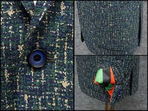 通年物ジャケット [東洲斎写楽] 紫紺/緑 デジタル迷彩柄風 [AB体]仕様 ベーシック2釦 メンズ ブランド SKJ06