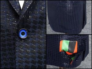 通年物ジャケット [東洲斎写楽] 濃紺 スパンコール風加工 小紋ジャガード [AB体]仕様 ベーシック2釦 メンズ ブランド SKJ16