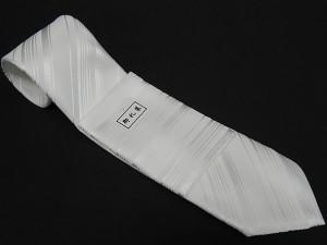 フォーマルネクタイ チーフ付 白 ストライプ 甲州織 ポリエステル100% 日本製 結婚式・披露宴 NK15 メール便選択可能