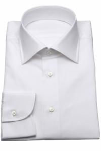 ワイシャツ【SHIRTSBAR】日本製 白 綿100% 100番双糸 エジプト綿/GIZA(FINX綿) ブロード セミワイド ドレスシャツ スリム