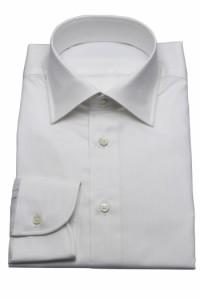 ワイシャツ【SHIRTSBAR】日本製 綿100% 白 70番単糸 ストライプドビー柄 セミワイドカラー ドレスシャツ スリム