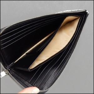 〓天然皮革〓メンズ長財布◆クロコダイル革◆白×黒バニラ染め/◆L字ファスナー◆ナイルクロコ 目地染め 男女兼用