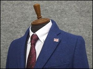 英国生地 [Harris Tweed]ハリスツイード 日本製 チェスターコート 青系 ダイヤゴナル シングル段返り3釦 秋冬物 HTC-J13