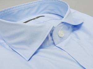 【FIDATO gold】イタリー製 長袖ドレスシャツ ストレッチ素材 ライトブルー/無地 カッタウェイ 綿95%