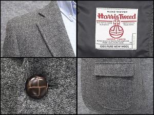 英国生地 [Harris Tweed]ハリスツイード ジャケット 日本製 [BB体] グレー系 綾 シングル2釦 秋冬物 HTJ40