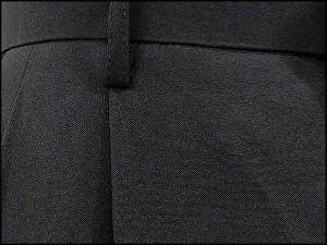 春夏物 2タック「美脚」スラックス 黒 無地 ウォッシャブル ビジネスパンツ 76cm-94cm