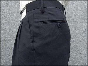 春夏物 2タック「美脚」スラックス 濃紺 無地 ウォッシャブル ビジネスパンツ 76cm-94cm