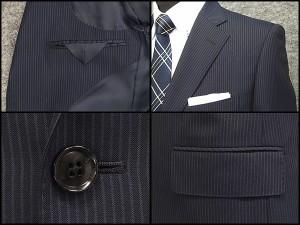 春夏物 ベーシック2釦シングルスーツ 紺系ストライプ [A体][AB体] メンズスーツ