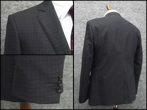 春夏物 スタイリッシュ2釦スーツ 黒系 格子 [AB体] 背抜き裏地 メンズスーツ F161229