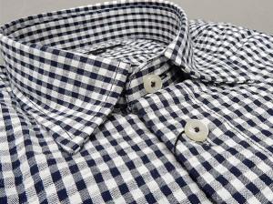 【g-stage】七分袖 コットン100% 黒×白系チェック カジュアルシャツ gs687-203