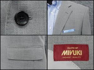春夏物 [MIYUKI] ミユキ ベーシック2釦シングルジャケット グレー系無地調 [AB体] MK951-2