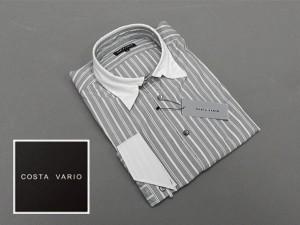 ■ドレスアップシャツ■COSTA VARIO■長袖■黒縞■銀ラメ■デザインカラー■クレリック■日本製 cos891-101