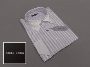 ■ドレスアップシャツ■COSTA VARIO■長袖■白縞■銀ラメ■デザインカラー■クレリック■日本製 cos891-102