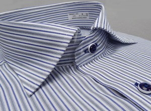 ■GRASS MENS■半袖■白×紺系×グレー系■アイビーストライプ■クールビズ■形態安定■グラスメンズ■GRS08 ワイシャツ