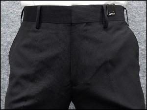 薄手素材 スリムノータック スラックス クールビズ ビジネスパンツ 黒縞 W73〜97cm OS38190-1