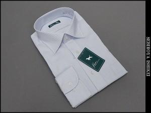 長袖ドレスシャツ Ken COLLECTION セミワイドカラー 白×青系 ダブルピンストライプ 綿100% 形態安定 高級縫製 DAKK71-12