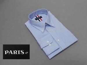 長袖ワイシャツ 青系 霜降り セミロングポイントカラー ボタンダウン PARIS-16e 形態安定 M-3L HKP01