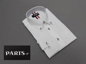 長袖ワイシャツ 白 ドビーストライプ セミロングポイントカラー ボタンダウン PARIS-16e 形態安定 M-3L HKP02