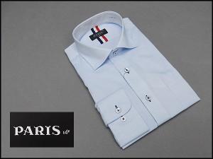 長袖ワイシャツ 青系 ドビーストライプ セミロングポイントカラー ボタンダウン PARIS-16e 形態安定 M-3L HKP03