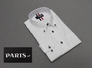 長袖ワイシャツ 白 斜めシェブロンストライプ セミロングポイントカラー ボタンダウン PARIS-16e 形態安定 M-3L HKP04