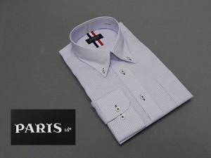 長袖ワイシャツ 白×紫系 オンブレストライプ セミロングポイントカラー ボタンダウン PARIS-16e 形態安定 M-3L HKP05