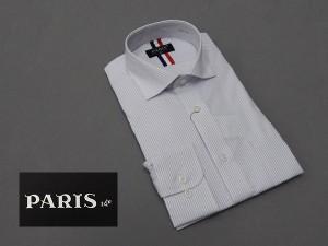長袖ワイシャツ 白×青系 柄入りピンストライプ セミロングポイントカラー ボタンダウン PARIS-16e 形態安定 M-3L HKP06