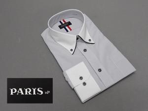長袖ワイシャツ 白×灰系 ロンドンストライプ セミロングポイントカラー ボタンダウン クレリック PARIS-16e 形態安定 M-3L HKP07