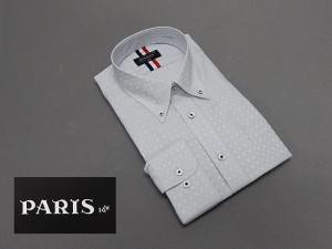 長袖ワイシャツ 淡灰系 市松模様 セミロングポイントカラー ボタンダウン PARIS-16e 形態安定 M-3L HKP08