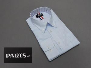 長袖ワイシャツ 薄青系 市松模様 セミロングポイントカラー ボタンダウン PARIS-16e 形態安定 M-3L HKP09