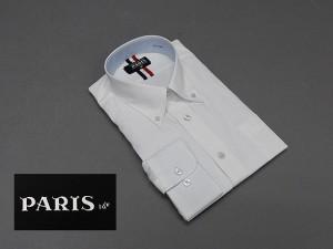 長袖ワイシャツ 白 ドビーチェック セミロングポイントカラー ボタンダウン PARIS-16e 形態安定 M-3L HKP10