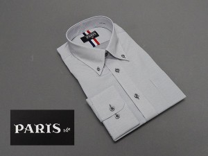 長袖ワイシャツ 薄グレー地 刺し子ピンドット セミロングポイントカラー ボタンダウン PARIS-16e 形態安定 M-3L HKP11