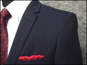 [le samourai homme ALAIN DELON] サムライ スタイリッシュ2釦シングルスーツ 紺縞 [A体]メンズ SMR5315-88
