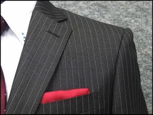 秋冬物 イタリー製生地 [FINTES] フィンテス Super110s グレー縞 ベーシック2釦シングルスーツ 日本製 [AB体] FIN67377-18