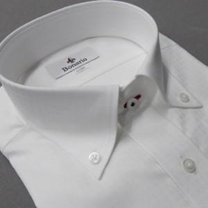 [BONARIO] ワイシャツ スリムフィット ボタンダウン 長袖 白 チェック 綿100% 形態安定 本縫い ドレスシャツ bon13-201