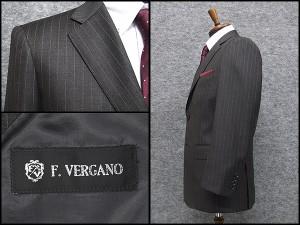 秋冬物 2パンツスーツ [F.VERGANO] フランコ・ベルガノ Super110s相当生地 ベーシック2釦 グレー縞 [A体][AB体][BB体] FV4007