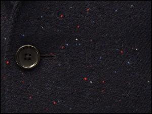 英国生地 [Harris Tweed]ハリスツイード 日本製 チェスターコート 紺系ダイヤゴナル カラーネップ シングル段返り3釦 HTC-J17