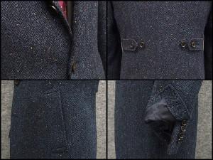 英国生地 [Harris Tweed]ハリスツイード 日本製 チェスターコート 藍系杉綾 カラーネップ入り シングル段返り3釦 秋冬物 HTC-J19