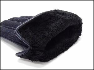 ◆手袋◆MOON×羊革 スマートフォン対応皮革 濃紺 色ネップ入 シープスキン+ムーンツイード グローブ メール便可 MOON-N02