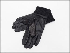 ◆手袋◆MOON×羊革 スマートフォン対応皮革 紺系×黒 日本製 シープスキン+ムーンツイード グローブ メール便可 MOON-J02