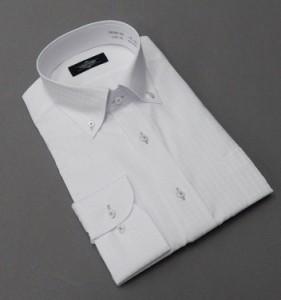 長袖ドレスシャツ CALUVADY ボタンダウン 白 ドビーチェック 形態安定 CAL02