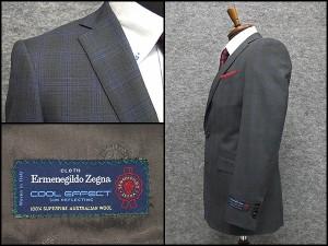 春夏物 霜降りグレー格子 [Ermenegildo Zegna] ゼニア COOL EFFECT使用 スタイリッシュ2釦スーツ [YA体][A体] EZS75 ロゴ入り裏地
