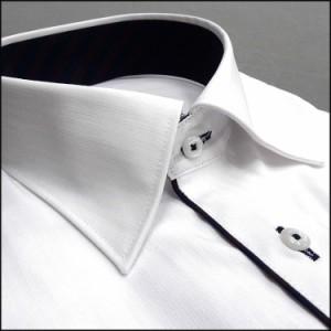 ■MICHIKO LONDON(ミチコロンドン)■長袖ドレスシャツ セミワイドカラー 白 ドビーストライプ 形態安定 MLK77-01