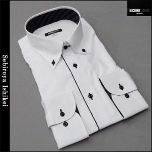 ■MICHIKO LONDON(ミチコロンドン)■長袖ドレスシャツ ボタンダウン 白/ドビー変則市松 形態安定 MLK77-02