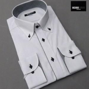 ■MICHIKO LONDON(ミチコロンドン)■長袖ドレスシャツ ボタンダウン 薄グレー ドビー格子 形態安定 MLK77-70
