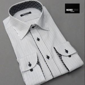 ■MICHIKO LONDON(ミチコロンドン)■長袖ドレスシャツ セミワイドカラー 白×黒 ドビーストライプ 形態安定 MLK77-73