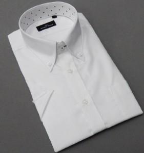 BODY WILD(ボディワイルド) 半袖 ワイシャツ ボタンダウン 白 フランス綾 形態安定 ドレスシャツ スリム BW02