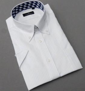 BODY WILD(ボディワイルド) 半袖 ワイシャツ ボタンダウン 白地 ストライプ 形態安定 ドレスシャツ スリム BW03