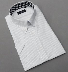 BODY WILD(ボディワイルド) 半袖 ワイシャツ ボタンダウン 白地 ダブルストライプ 形態安定 ドレスシャツ スリム BW04