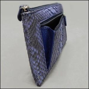 〓天然皮革〓メンズ長財布◆パイソン・ニシキヘビ革◆アイリスブルー◆L字ファスナー◆金運上昇◆WL8-IB